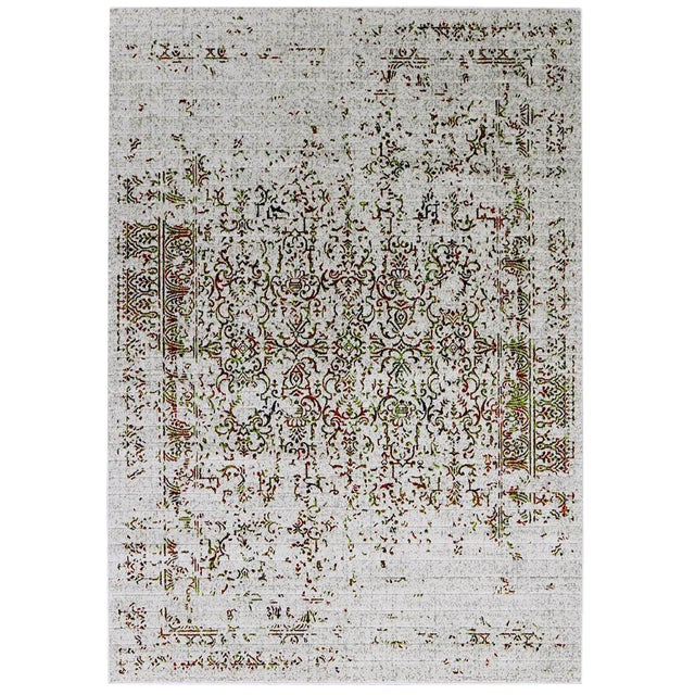 Contemporary Orange & Green Distressed Rug - 8' x 10'7'' - Image 1 of 2