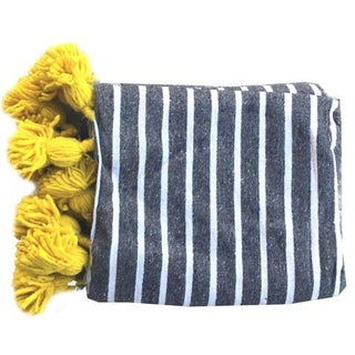 Moroccan Throw With Tassels in Gray/Yellow