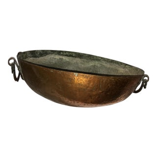 Hammered Copper Bowl & Brass Handles