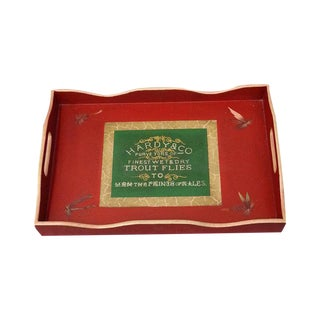 Red Rectangular Wooden Tray