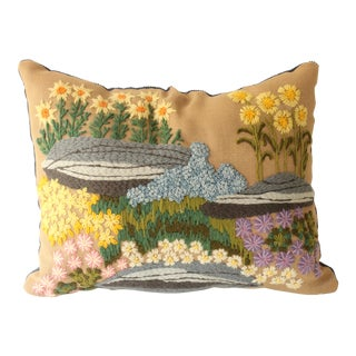 Floral Landscape Crewel Pillow