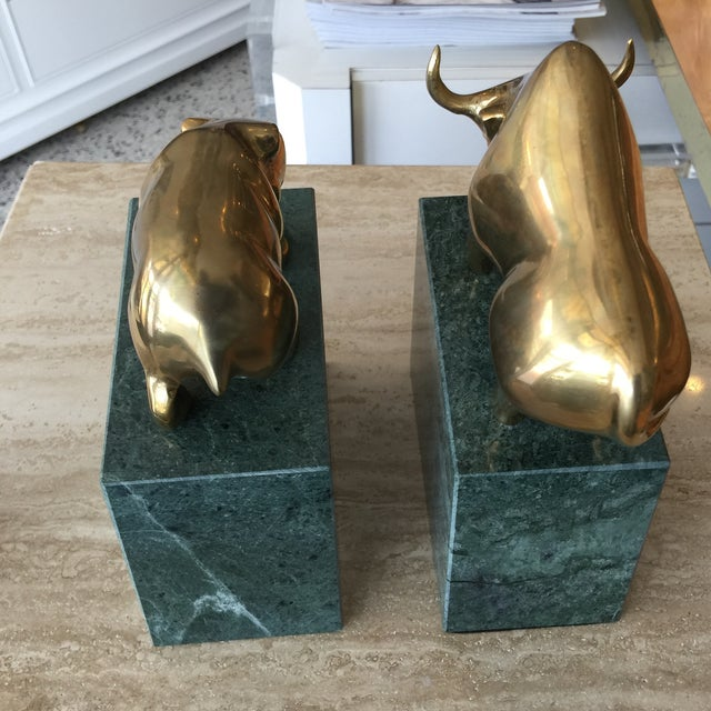 Image of Bull & Bear Marble and Brass Bookends - A Pair