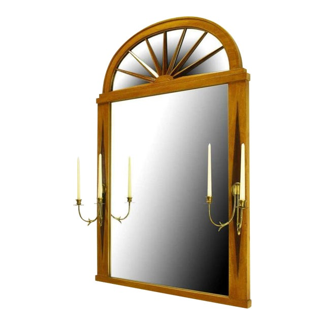 Grosfeld House Sunburst Top Mirror with Integral Brass Sconces - Image 1 of 7