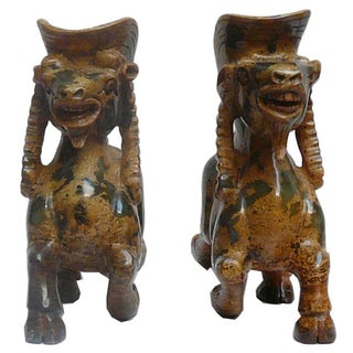Chinese Oriental Carved Stone Ram Figures - Pair