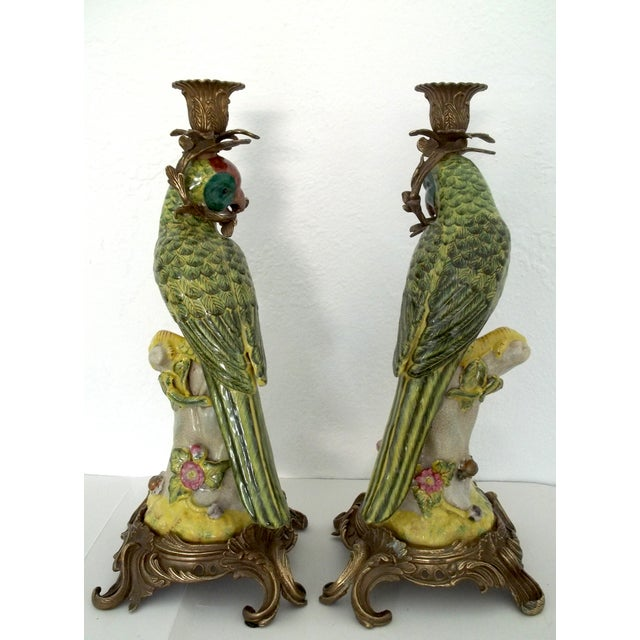 Vintage Green Parrot Candle Holders - a Pair - Image 3 of 5