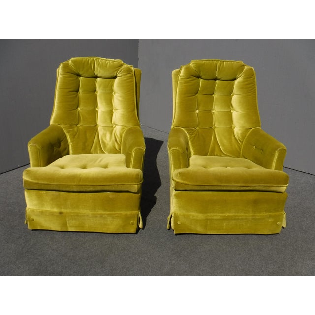 Mid Century Modern Tufted Green Velvet Swivel Chairs A