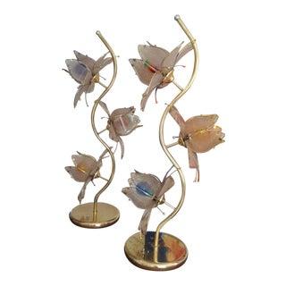 Vintage Lotus Tulip Brass Lamps - a Pair