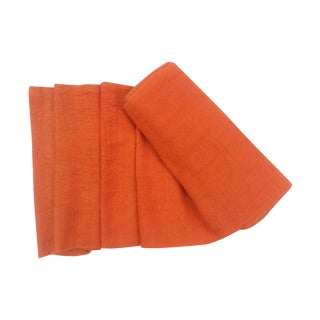 Orange Tribal Homespun Flax Roll of Linen Fabric