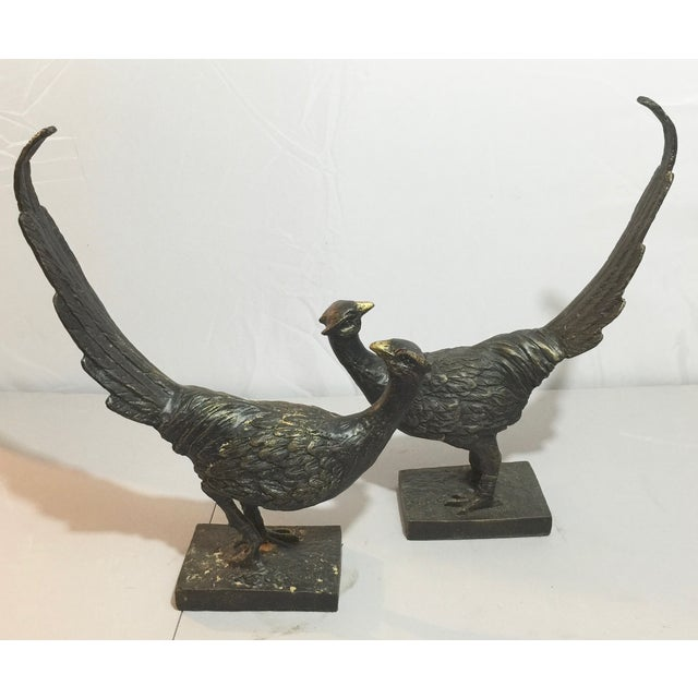 Image of Bronze Peacock Objects - A Pair