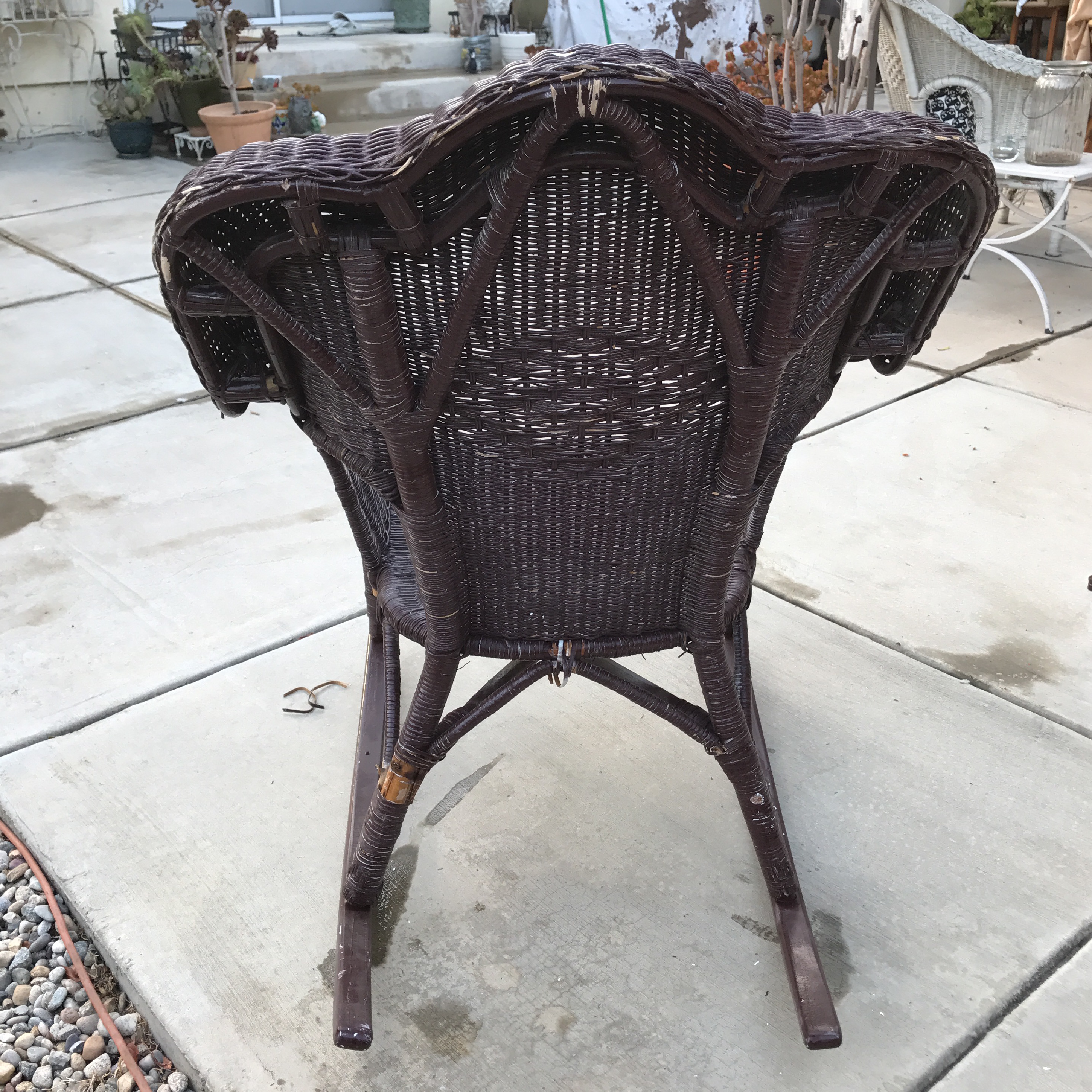 Boho Large Vintage Wood Wicker Rocking Chair   Image 5 Of 8