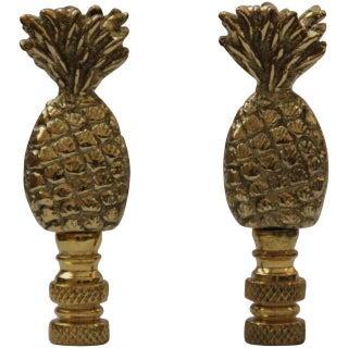 Brass Pineapple Lamp Finials - Pair