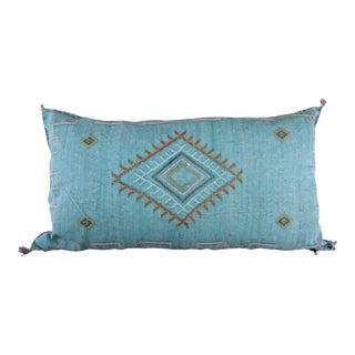 Aquamarine Moroccan Sabra Cactus Lumbar Pillow