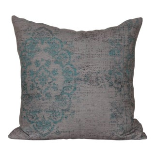 Turkish Distressed Turquoise Rug Print Pillow Cover-16''