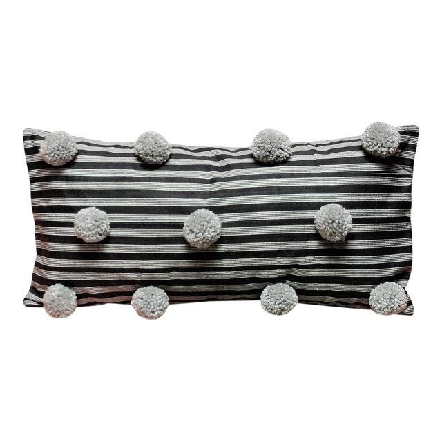 Black Handwoven Lurik Striped Pillow With Concrete Grey Pom-Poms - Image 1 of 7