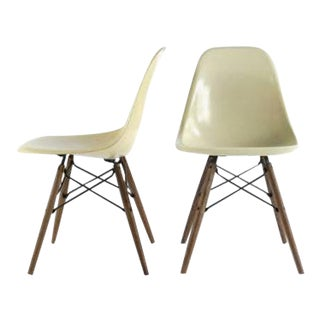 Eames for Herman Miller Dowel Base Fiberglass DSW Chairs - A Pair