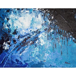 """""""Ice Blue Burst"""" Abstract Painting by C. Plowden"""