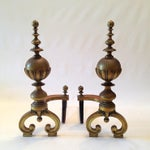 Image of Large 19th Century Brass Andiorns - A Pair