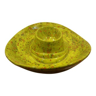 Green Speckled Ceramic Sombrero Chip & Dip Dish