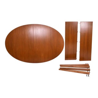 Danish Modern Teak Dining Table Oval Shape with Extensions