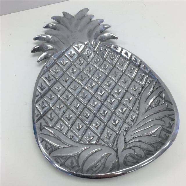 Image of Vintage Pewter Colored Metal Pineapple Dish