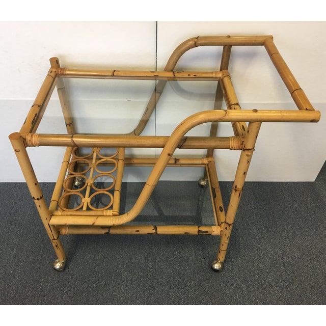 Vintage Bamboo & Rattan Bar Cart - Image 2 of 6