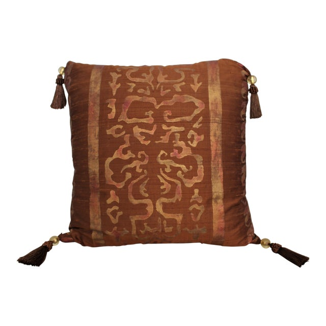Isabelle H. Fortuny Style Burnished Russet Silk Tasselled Pillow - Image 1 of 8