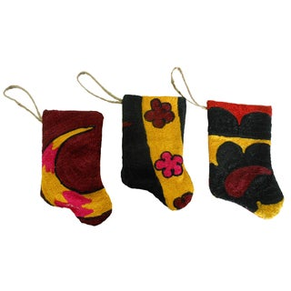 Handmade Mini Suzani Stocking Ornaments - Set of 3