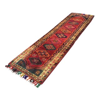 Vintage Hand Knotted Turkish Runner - 3′3″ × 10′5″