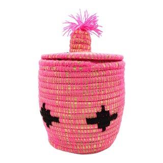 Pink and Black Moroccan Wool Basket