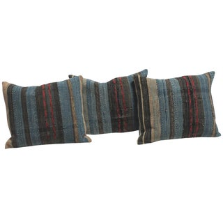 Group of Three 19th American Rag Rug Pillows