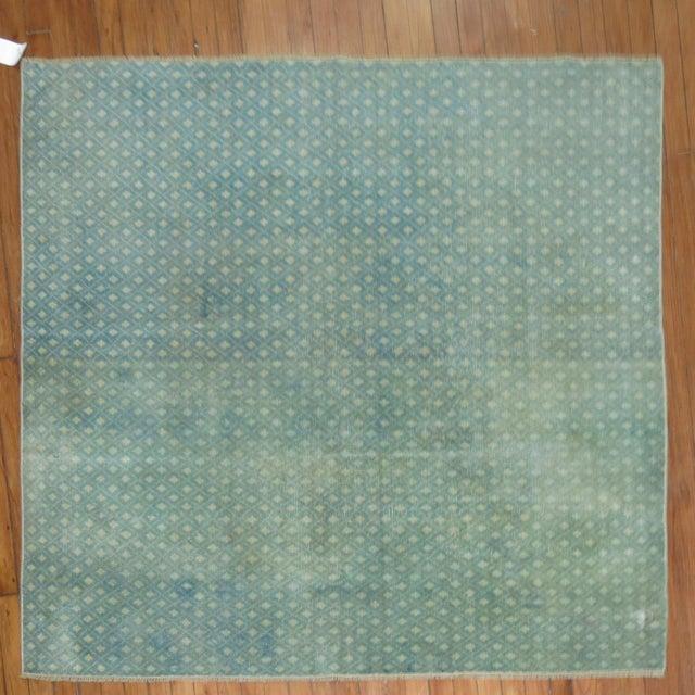 Mint Green Turkish Overdye Square Rug - Image 2 of 4