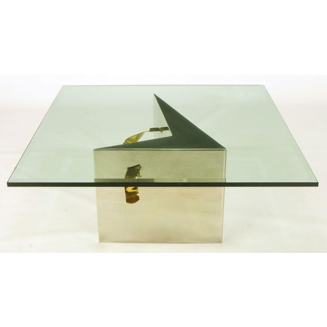 Image of Custom Artisan Chrome, Brass, And Glass Coffee Table