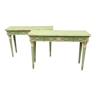 Italian Style Painted Console Tables - A Pair