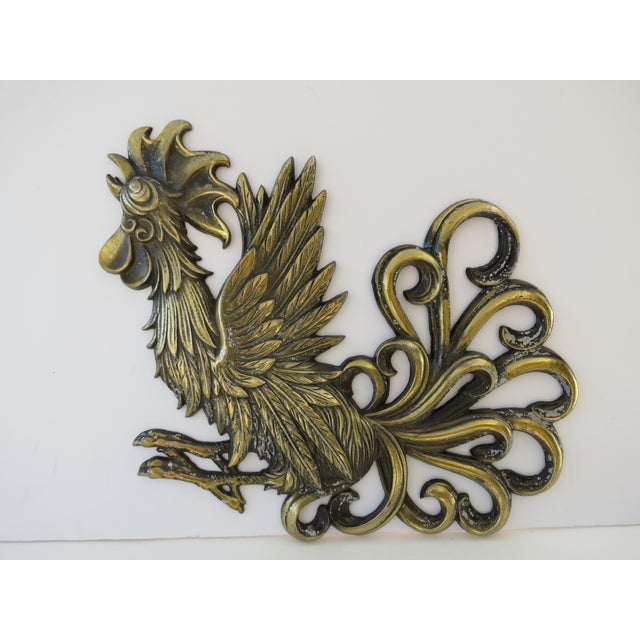 Brass Rooster Wall Hangings- A Pair - Image 3 of 9