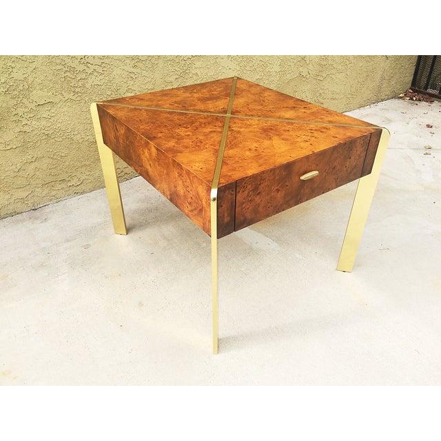 Milo Baughman Burlwood and Brass End Table - Image 2 of 9