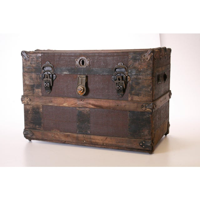 Image of Victorian Wood & Metal Flat Top Brown Steamer Trunk