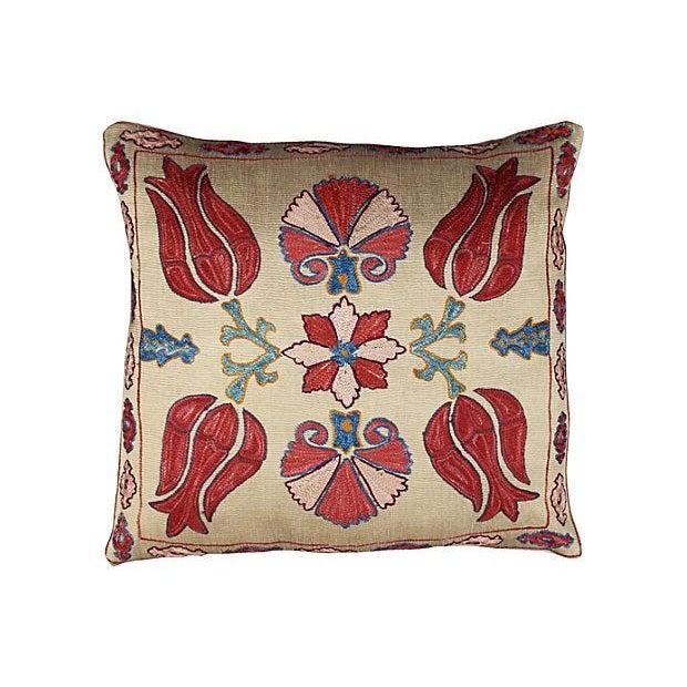 Silk-Embroidered Red Uzbek Sham - Image 1 of 2