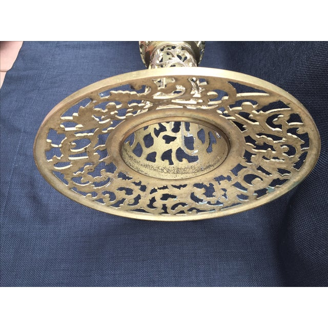 Ornate Filagree Solid Brass Round Side Table - Image 11 of 11