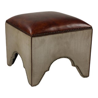 Sarreid Ltd Elegant Arches Stool Canvas & Leather