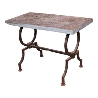 French Wrought Iron and Stone Top Coffee Table