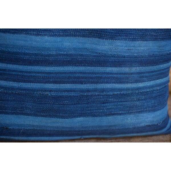 Dark Blue Striped Indigo Lumbar Pillow - Image 5 of 6