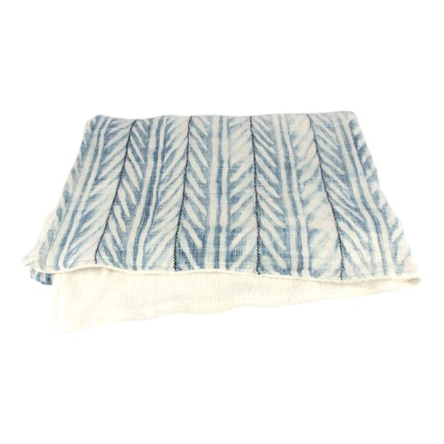 Blue African Mud Cloth Throw Blanket - Image 1 of 6
