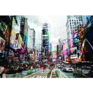 Yosemite Contemporary Vibrant Nyc in Motion on Tempered Glass
