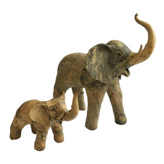 Marble Like Elephant Sculptures - A Pair