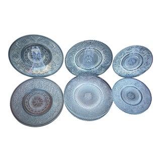 Vintage Pressed Glass Plates - Set of 14