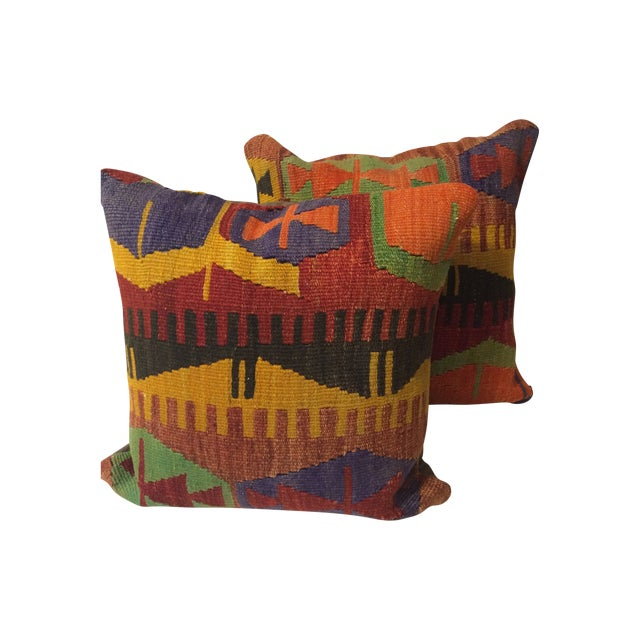Antique Turkish Kilim Pillow Covers - Pair - Image 1 of 6