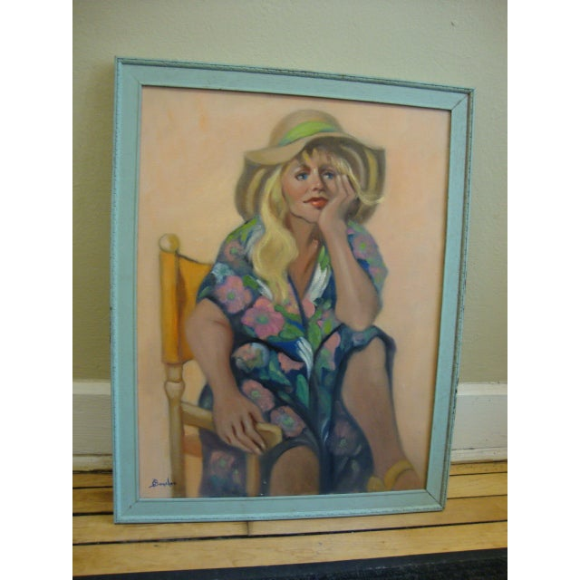 """Girl in a Straw Hat"" Oil Painting - Image 2 of 8"