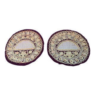 Vintage India Import Mirror Fabric Round Pillows - A Pair