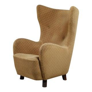 Danish high wingback lounge chair, 1940s