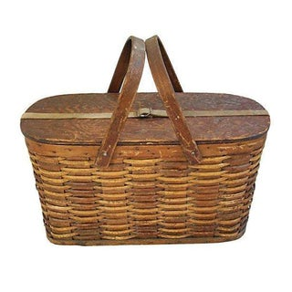 Antique 1920s Hawkeye Wicker and Tin Picnic Basket